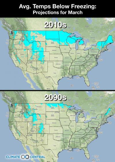 Karte mit den projizierten Märztemperaturen für die 2090er Jahre