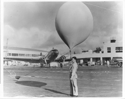 Wetterballon vor dem Start